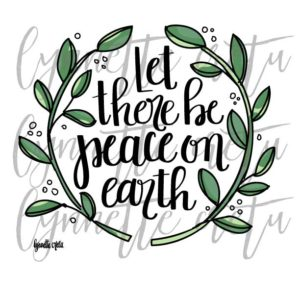 let peace earth printable hand lettering