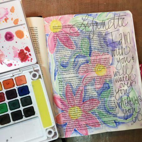 journaling bible start koi paints watercolor purple